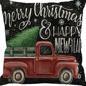 Other - Pillow Cover- New- Merry Christmas Country Truck